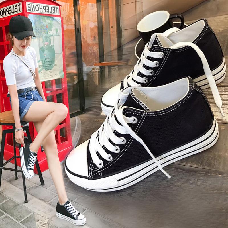�h球厚底帆布鞋女�仍龈�2018夏季新款百搭白鞋1992�W生布鞋女球鞋