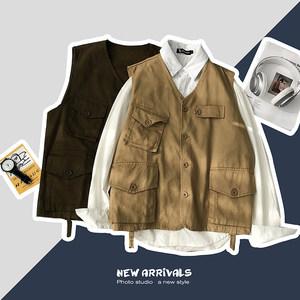 日系多口袋工装美式阿美咔叽马甲