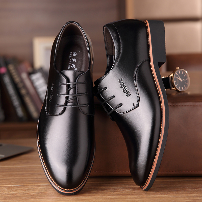 Spring new men's leather shoes men business pointed casual dress lace up Korean black bridegroom wedding men's shoes