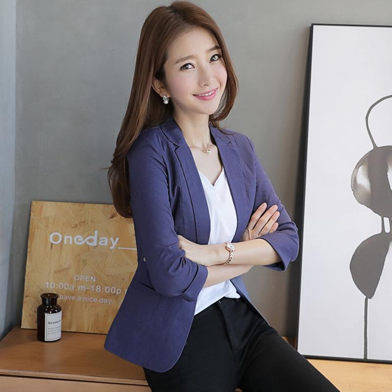 Cotton hemp Blazer womens jacket short 2018 summer new Korean slim fit womens 7-sleeve casual suit thin