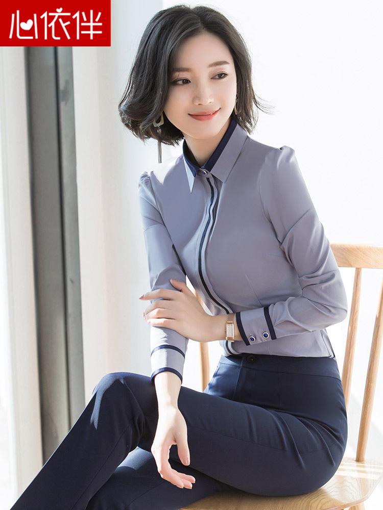 职业短袖衬衣女冬2019新款秋装时尚气质女士工装加厚白衬衫秋长