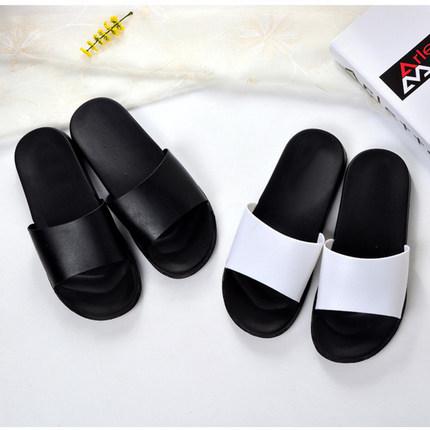 夏季黑白简约防滑拖鞋家居浴室韩版潮男女情侣个性凉拖百搭一字拖