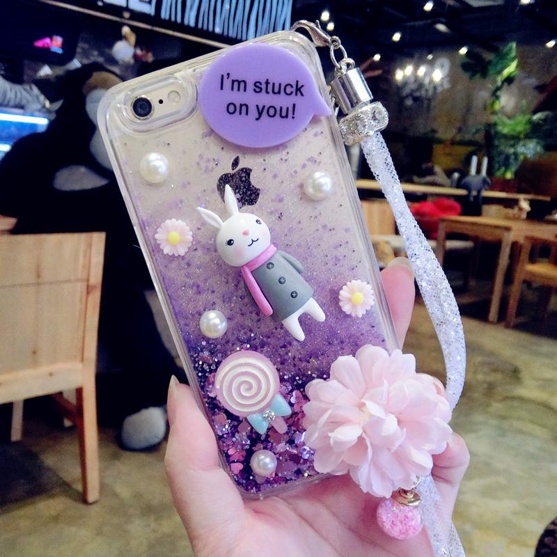 蘋果6s手機殼流沙手機殼iphone6plus日韓軟膠套女5s掛繩帶鑽