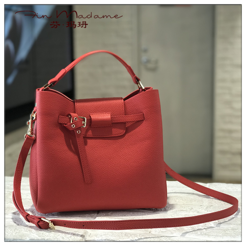 Fin Madame / fin Maru 2019 new winter fashion cowhide womens bag leisure Single Shoulder Messenger Handbag