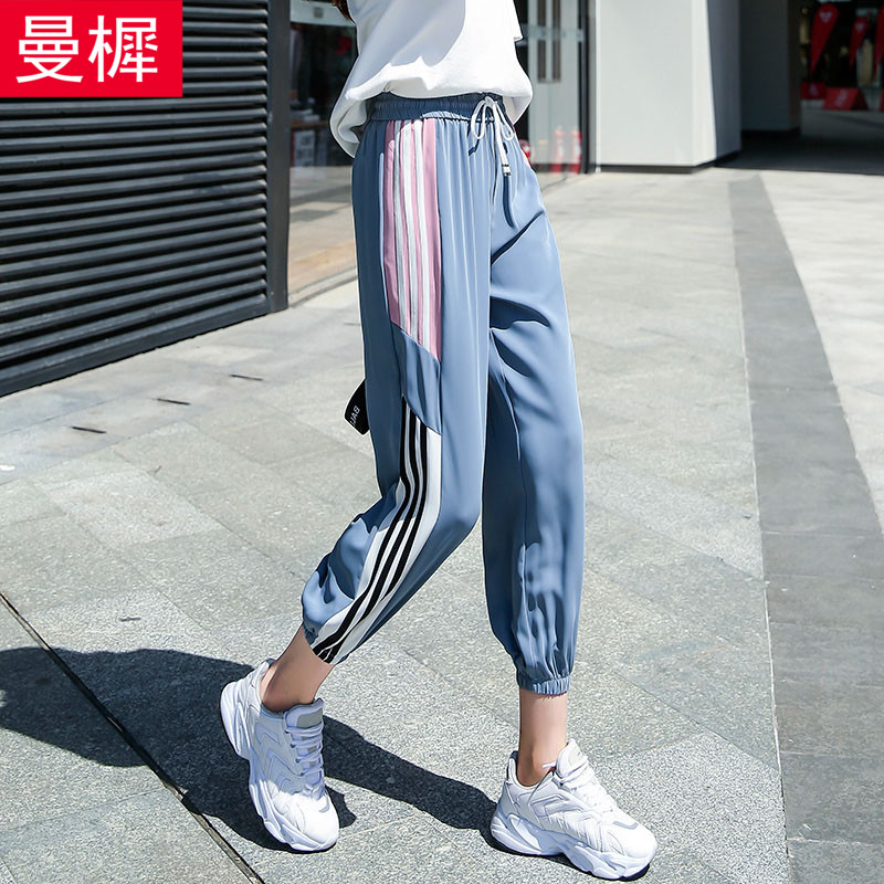 Thin sports pants womens ins fashion loose casual pants jogging ghost step dance summer Hip Hop Pants light students 9-point pants