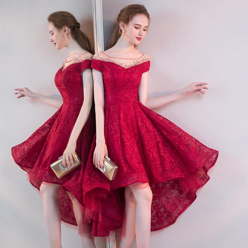 敬酒服2018新款夏季前短后长款小个子红色礼服裙答谢宴新娘短款女