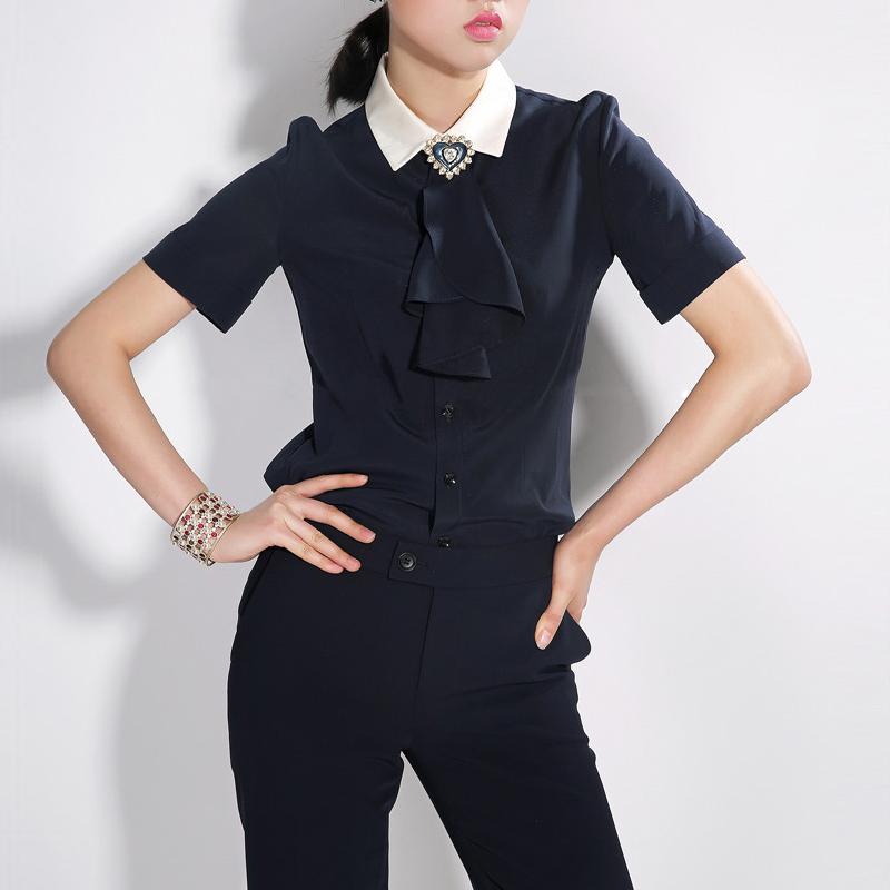 白领哥弟新2018夏新款国内正品代购韩版拼接荷叶领结短袖衬衫女装