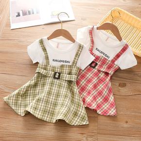 童装女童背带裙子夏季2021新品小宝宝3格子韩版洋气连衣裙4岁衣服