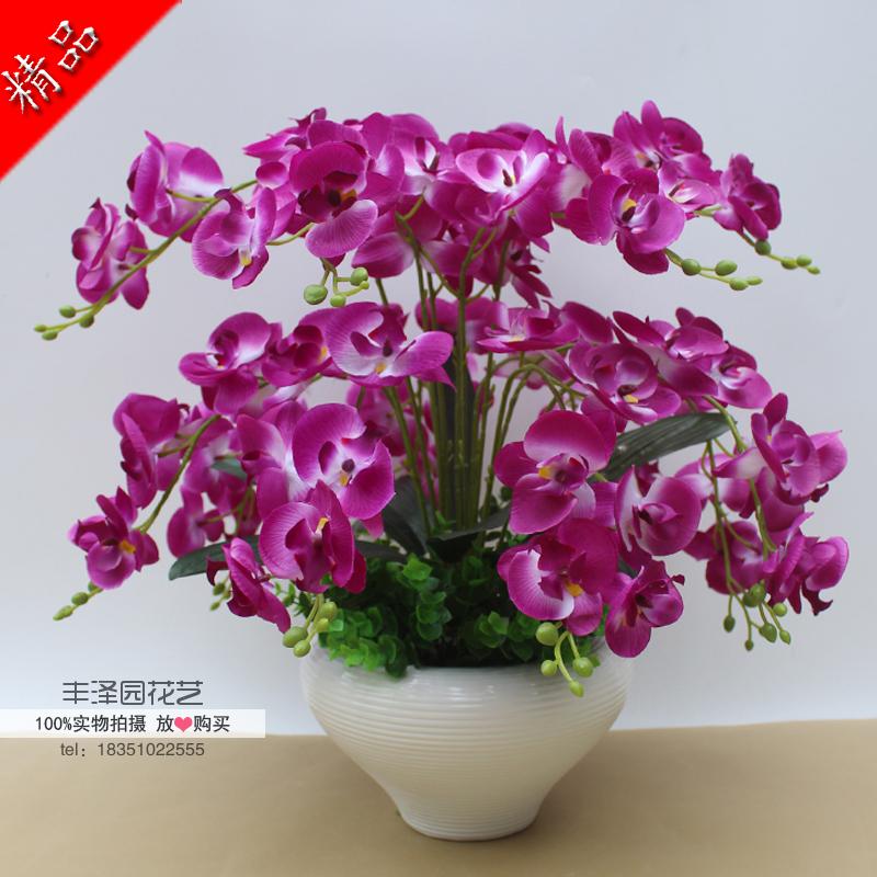 Бесплатная доставка фаленопсис цветок комнатные моделирование сухие цветы установите украшения ложный цветок шелк цветок гостиная обеденный стол качели установить место цветы