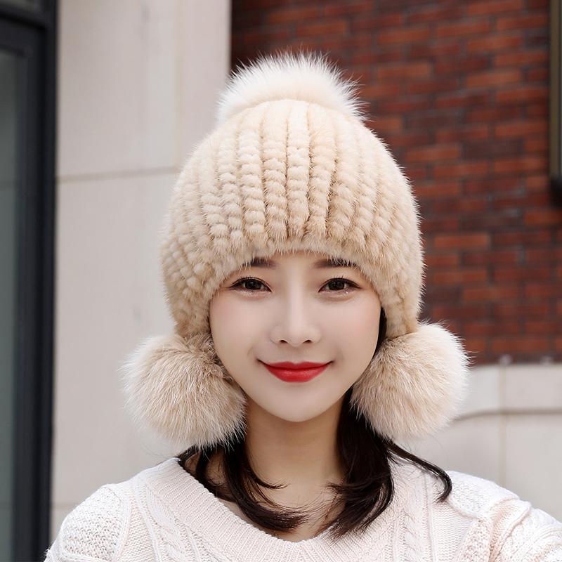 New mink fur womens Hat Winter mink hair woven womens fox fur ball warm ear protection thickened Winter Hat
