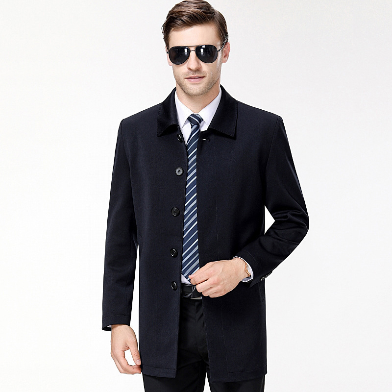 Mens fashion 2020 mens jacket middle aged fathers mid long woolen jacket