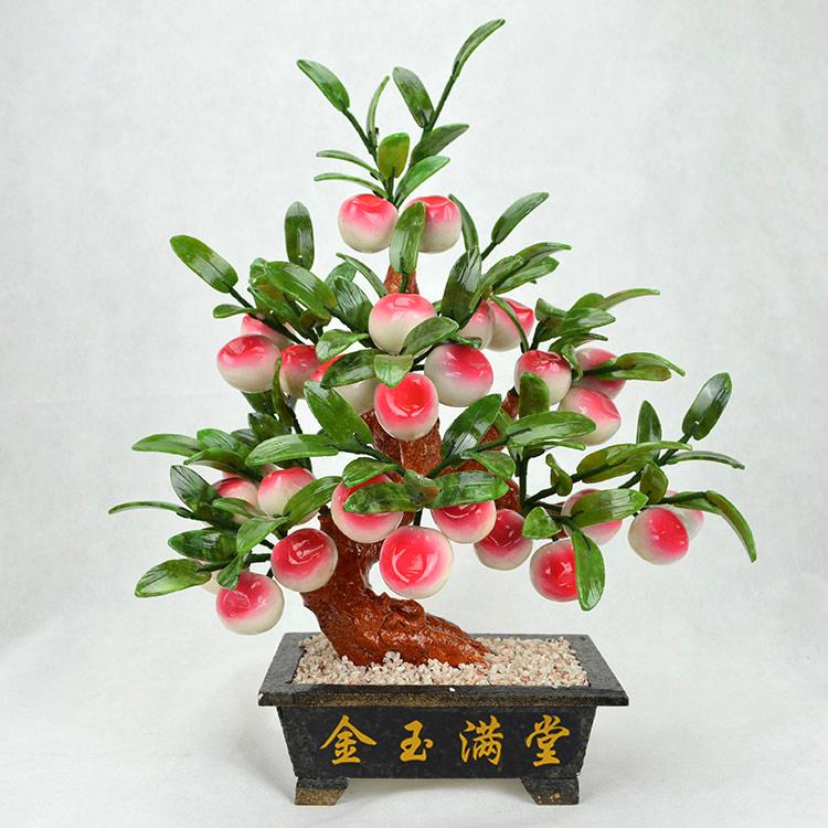 玉石盆栽小8仙桃子树寿桃盆景客厅酒柜装饰品摆件创意家居工艺品