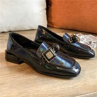 乐福鞋方扣水钻单鞋女石头纹黑色粗跟平底踩跟英伦学院风小皮鞋潮