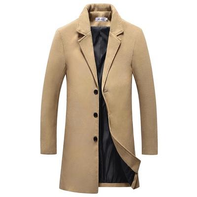 平铺秋冬季新款外套毛呢大衣男中长款修身男士风衣A098-D67-P40