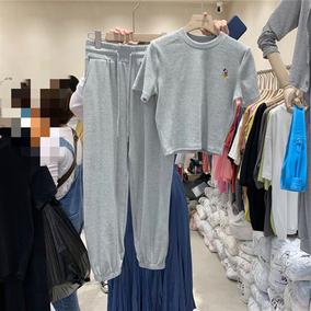韓版寬松刺繡短袖T恤闊腿褲套裝女夏季新款洋氣減齡休閑時尚套裝