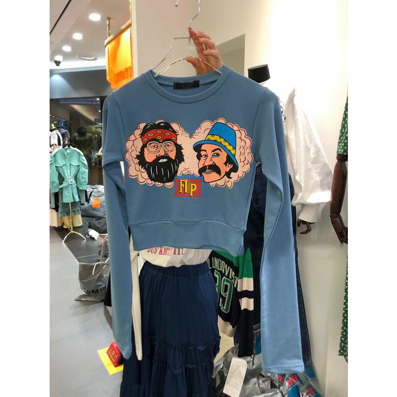 韩版短款卫衣女2020春秋新款宽松纯棉字母印花薄款长袖T恤ins潮