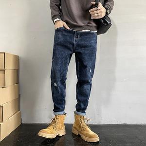 男士青年美式休闲小脚宽松哈伦潮流百搭牛仔弹力破洞长裤子521P68,男装牛仔裤,B357-1