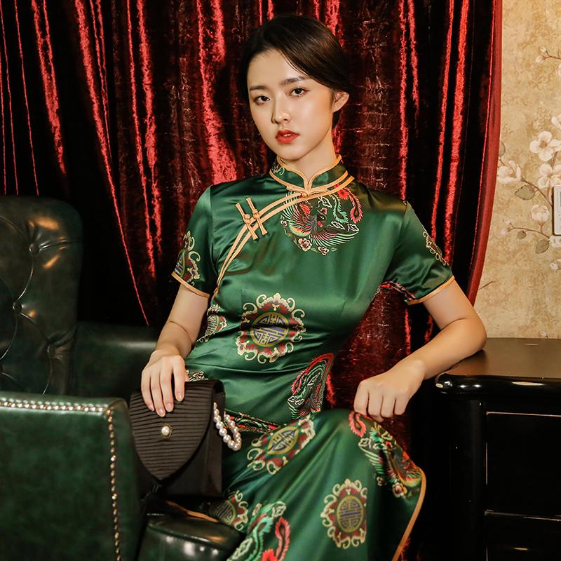 老上海复古改良香云纱女长款连衣裙