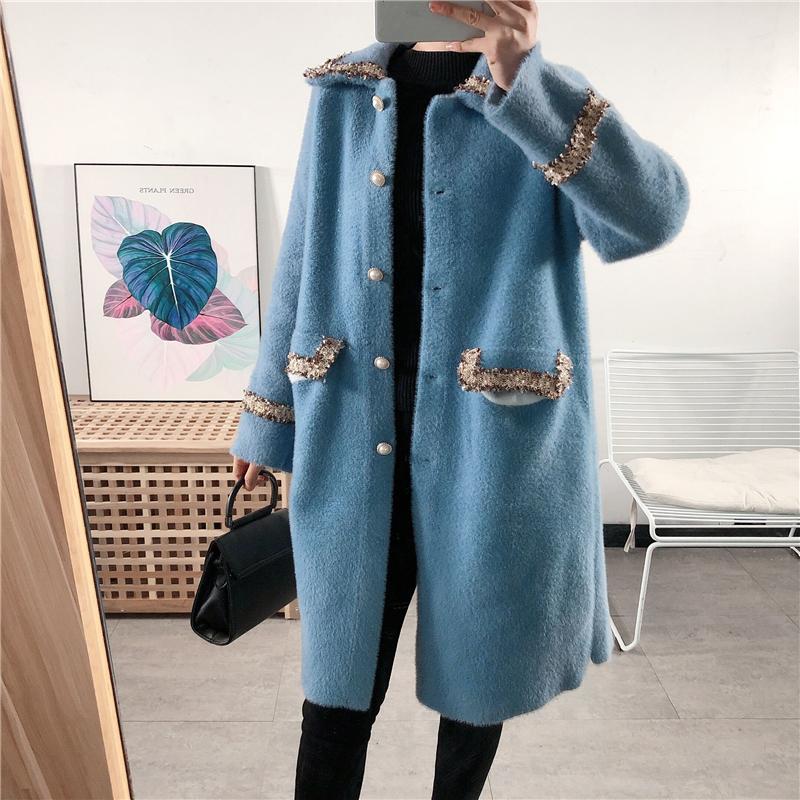 时尚小香风仿水diao绒外套冬季韩版洋气保暖翻领单排扣中长款大衣