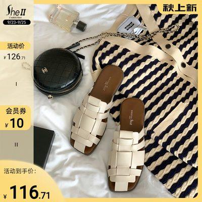 【sheii苏茵茵】有点舒服~2021新款编织时尚半拖平底拖鞋女夏外穿 - 封面