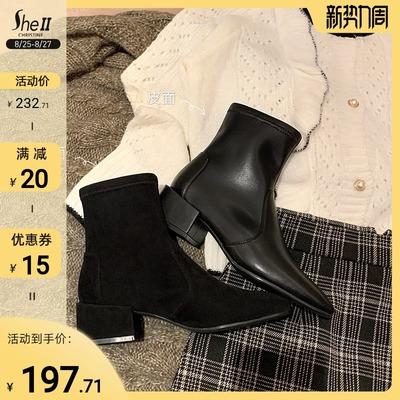 【sheii苏茵茵】超级福利款~新款SW方头方跟弹力短靴女袜靴裸靴秋
