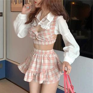 新款 夏季防曬披肩+短款小吊帶+荷葉邊裙褲三件套時尚套裝女裝