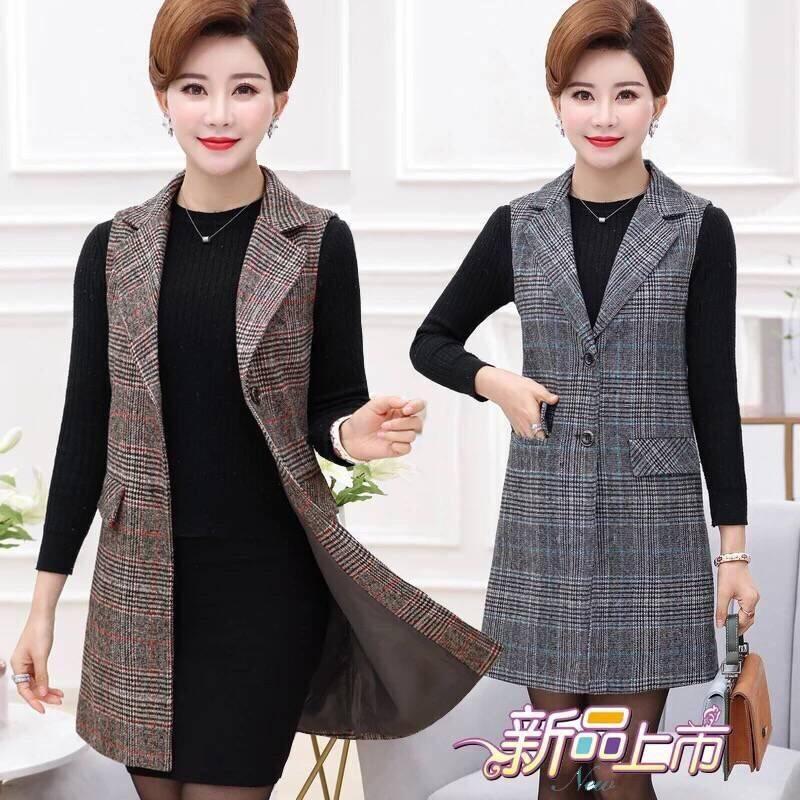 Womens spring and autumn new mothers Plaid Vest Jacket Medium Long sleeveless large womens shoulder suit jacket