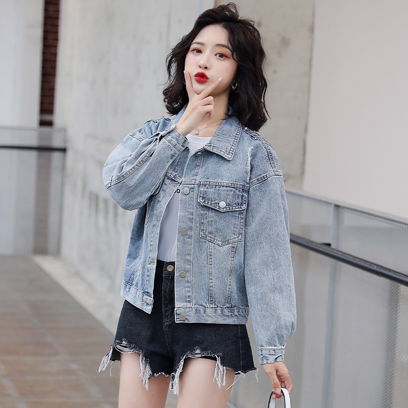 C61591 denim cotton jacket slim fit high waist jacket casual Sequin dress bestbao new womens wear