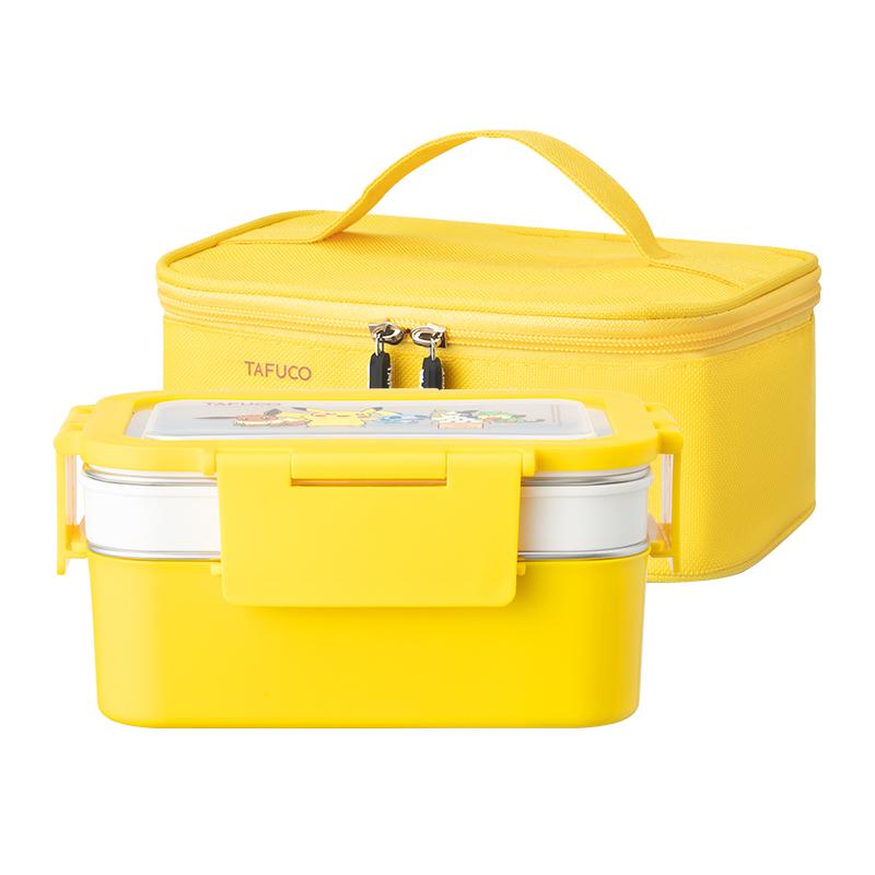 日本泰福高304不锈钢餐盘分格带盖学生保温饭盒分隔型上班族餐盒