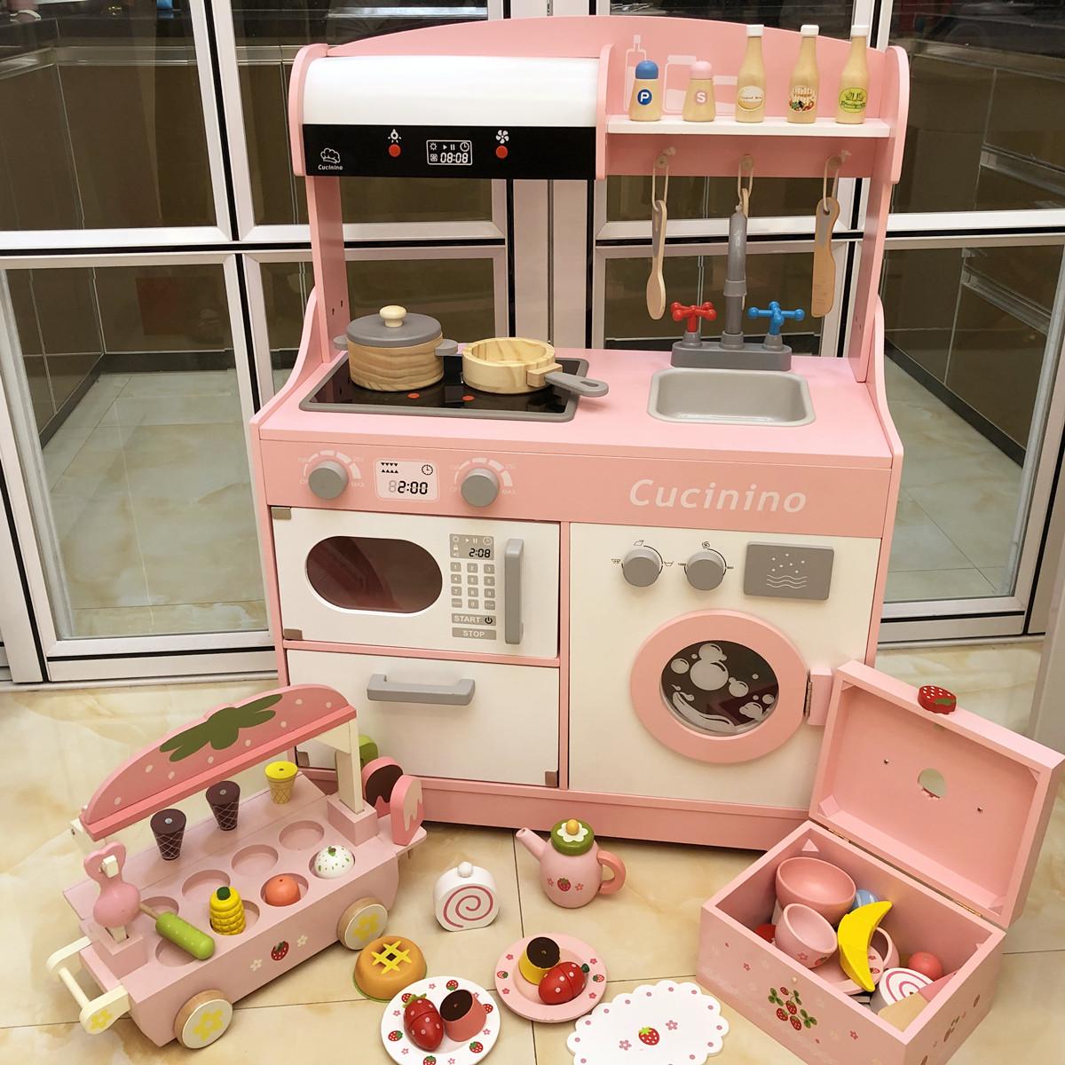 热销150件假一赔十木制厨房玩具套装仿真厨具女孩玩具