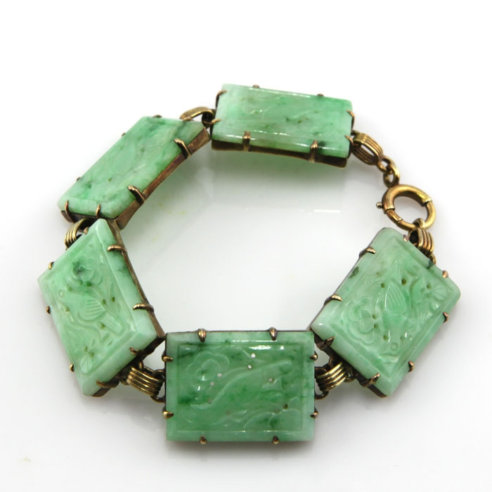 K00787 circumfluence 25mm * 18mm * 2mm14 K gold late Qing jadeite Bracelet solitary old objects antique jewelry