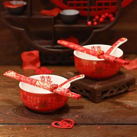 结婚敬茶杯一对茶具婚礼喜碗喜杯喜筷套装女方红色婚庆用品大全图片