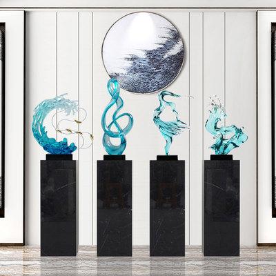 抽象雕塑树脂工艺品新中式家居客厅玄关招财摆件样板间展厅艺术品