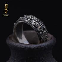 神兽饕餮开口戒指S925纯银指环个性潮人复古霸气男女款情侣礼物