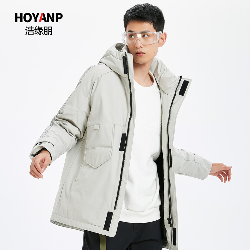 Haoyuanpeng medium and long mens down jacket thickened warm hooded fashion mens winter coat out of season