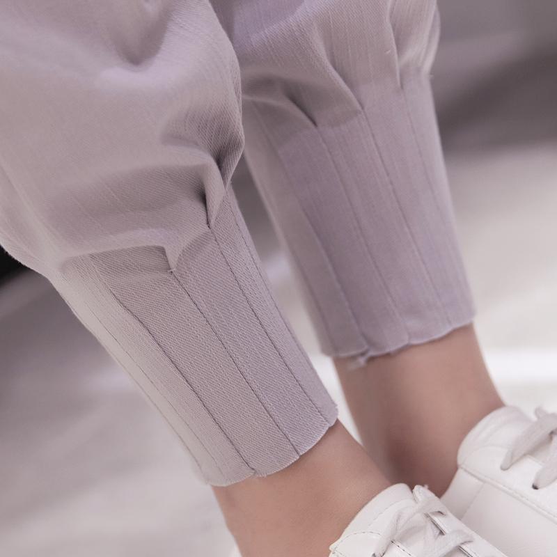 秋季女裤子韩版显瘦百搭系带时尚小脚九分裤运动裤哈伦裤休闲裤