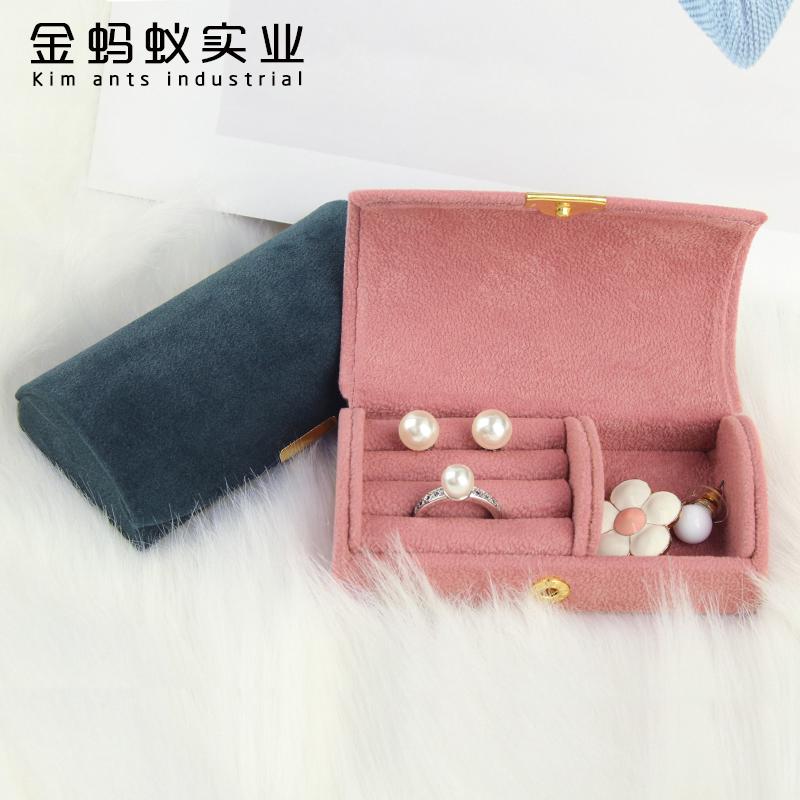 日本精致饰品收纳盒出差旅行珠宝随身便携迷你绒布首饰盒