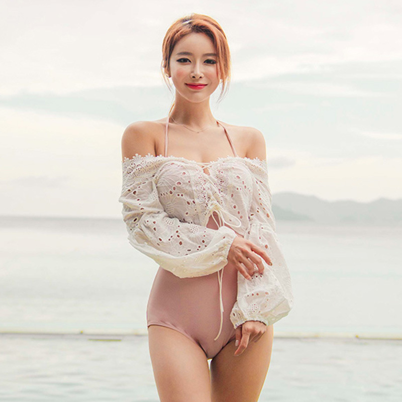 Korea 2020 foreign trade swimsuit womens sexy triangle two-piece Pullover long sleeve belly covering thin chest hot spring swimsuit
