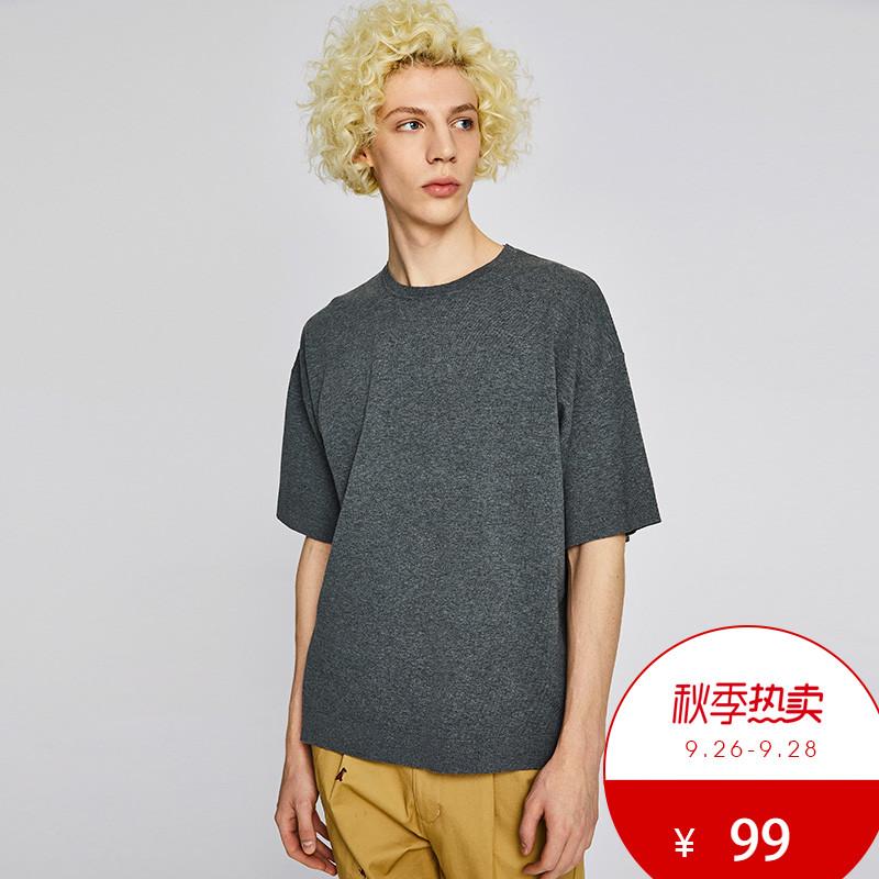 UR2018夏季新品男装合身撞色印花圆领短袖针织T恤MV13R9BN2001