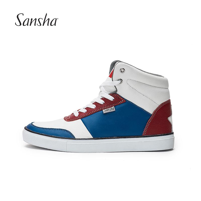 Sansha франция санши цвет спортивной обуви мода обувь современный обувь высокий воловья кожа национальный флаг улица обувь