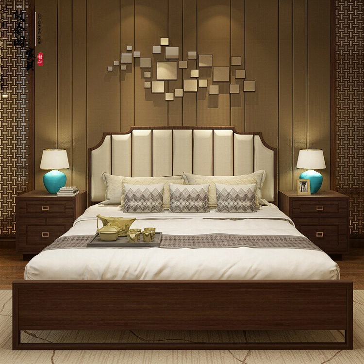 New Chinese style solid wood bed modern simple cloth art leather art double bed hotel club model bedroom furniture