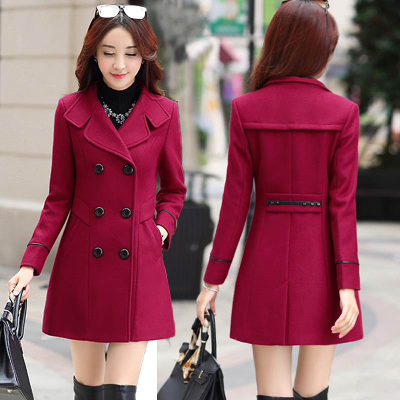 Spring and autumn 2020 new slim fit Korean large medium length double breasted fashion woolen coat for women