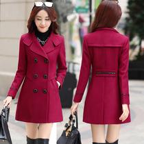 2020春季秋装新款修身韩版大码中长款双排扣显瘦时尚毛呢外套女