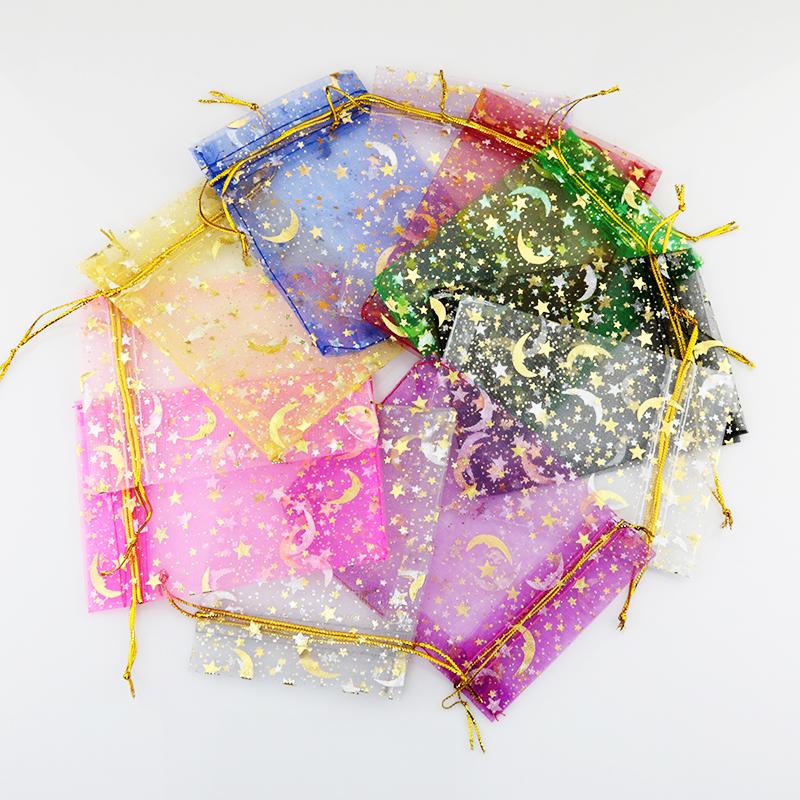 小饰品包装袋 星星月亮糖果礼品袋 首饰袋节庆婚庆欧根纱袋 100个