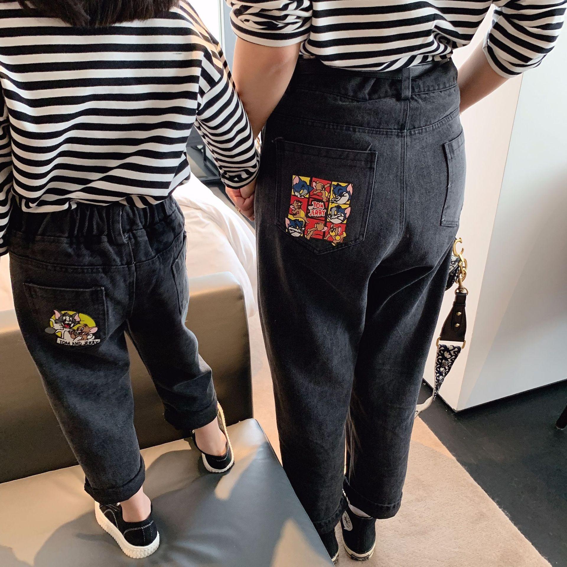 【三万公馆】2019秋冬亲子装 儿童牛仔裤 猫和老鼠 时髦老爹裤牛
