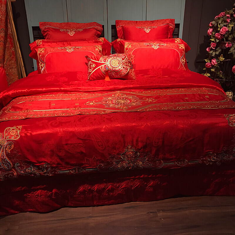 Brand home textile bed 4-piece wedding multi piece wedding celebration bed cover to be married Princess