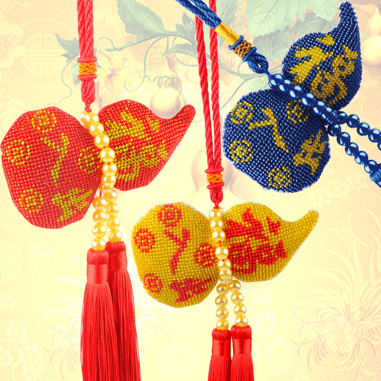Pingan blessing gourd full of beads embroidered with beads