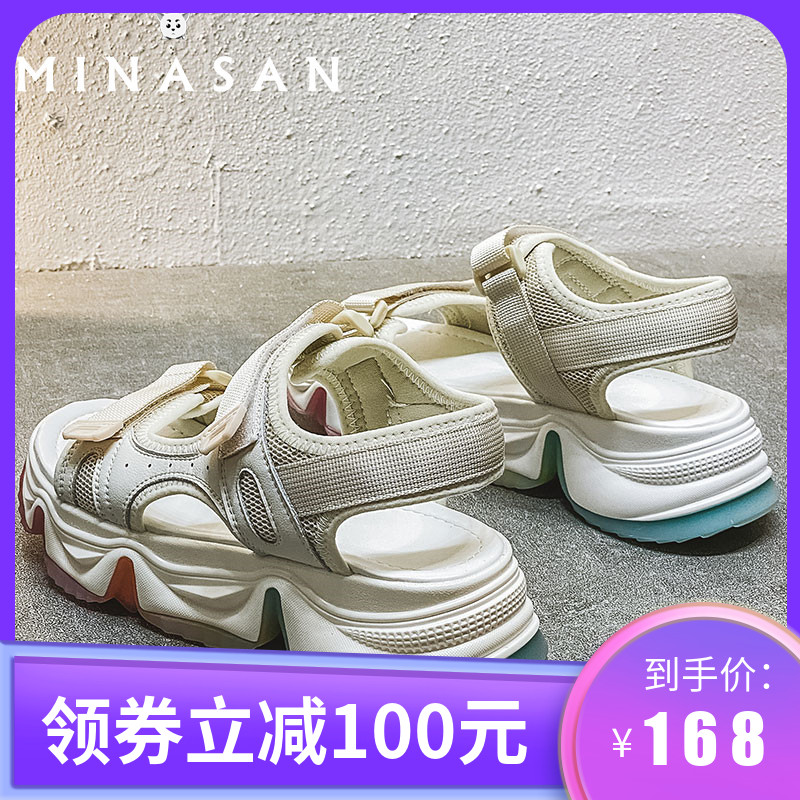 Minasang peach sandals womens new rainbow bottom sports style in 2020 summer leisure Velcro shoes trend