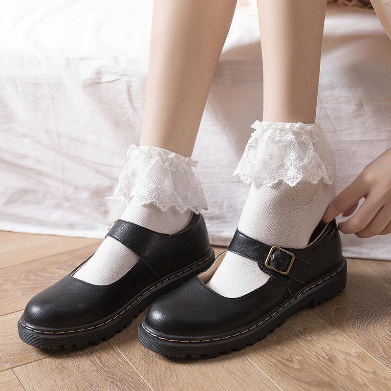 有赠品白色蕾丝袜子女lolita花边女中筒袜