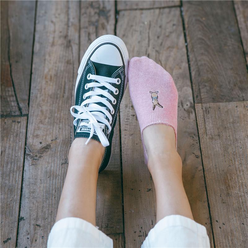 四季防滑硅胶刺绣女隐形袜全棉吸汗毛巾底加厚毛圈船袜女浅口短袜